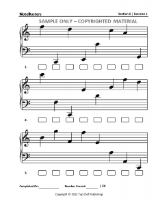 Section6 NOTEBUSTERS Sight Reading Music Workbook Sample