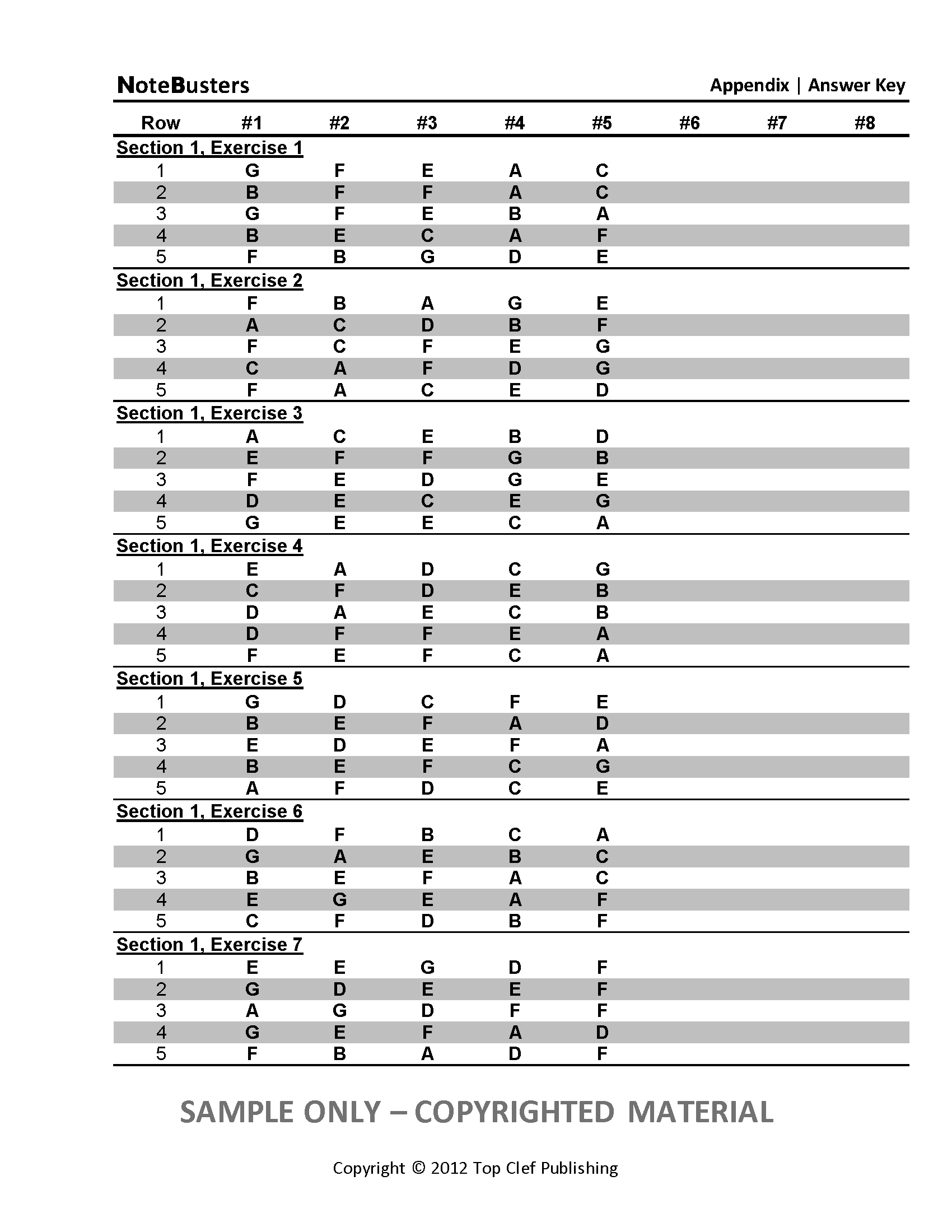 Sample Exercises - Notebusters Note Reading Music Workbook