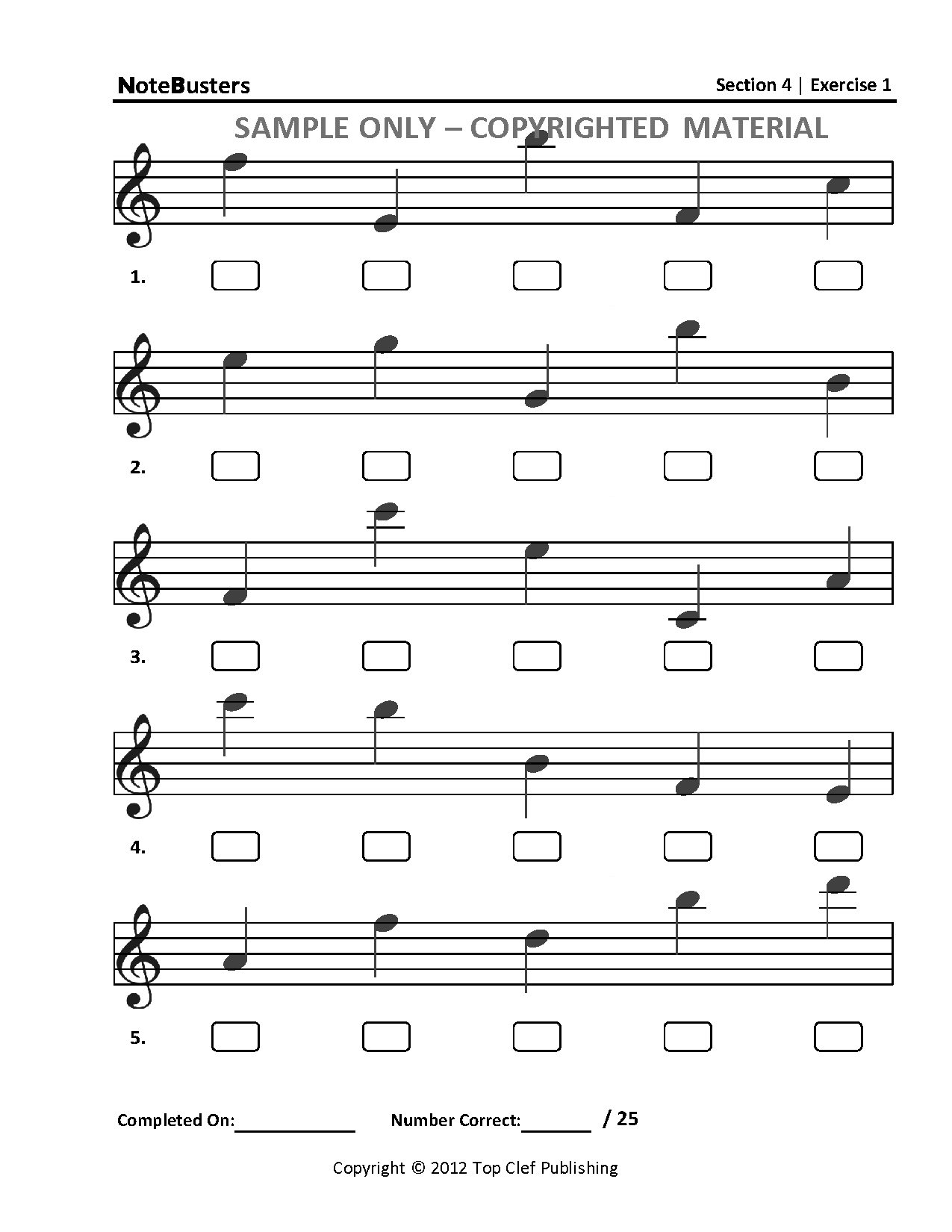 Sample Exercises Notebusters Note Reading Music Workbook
